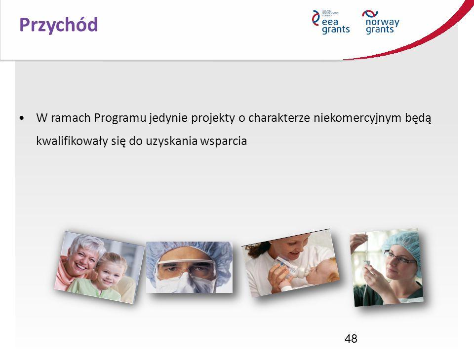 Przychód W ramach Programu jedynie projekty o charakterze niekomercyjnym będą kwalifikowały się do uzyskania wsparcia.