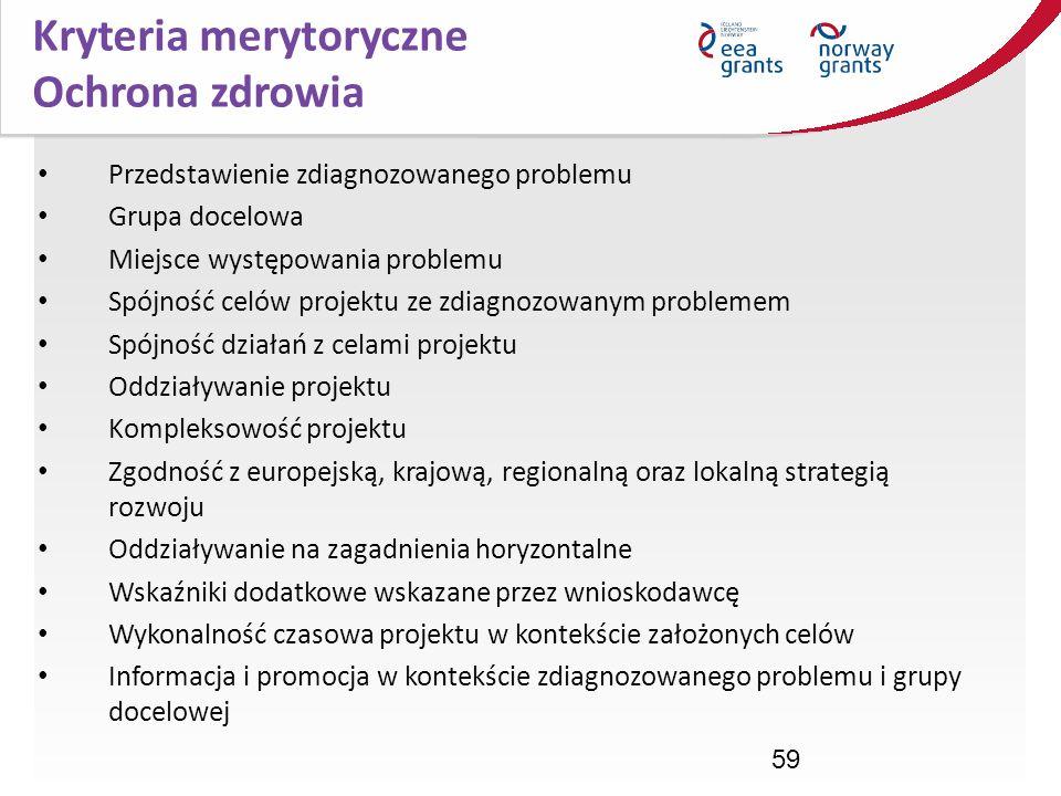 Kryteria merytoryczne Ochrona zdrowia