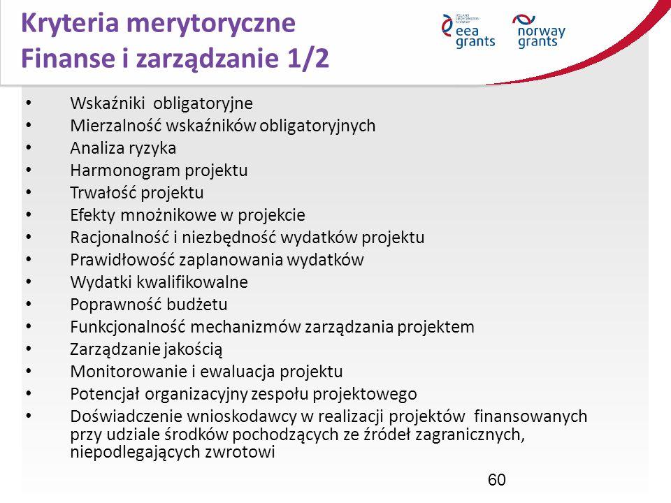 Kryteria merytoryczne Finanse i zarządzanie 1/2