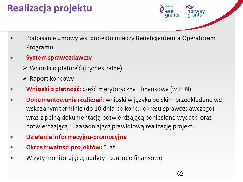Realizacja projektu Podpisanie umowy ws. projektu między Beneficjentem a Operatorem Programu. System sprawozdawczy.