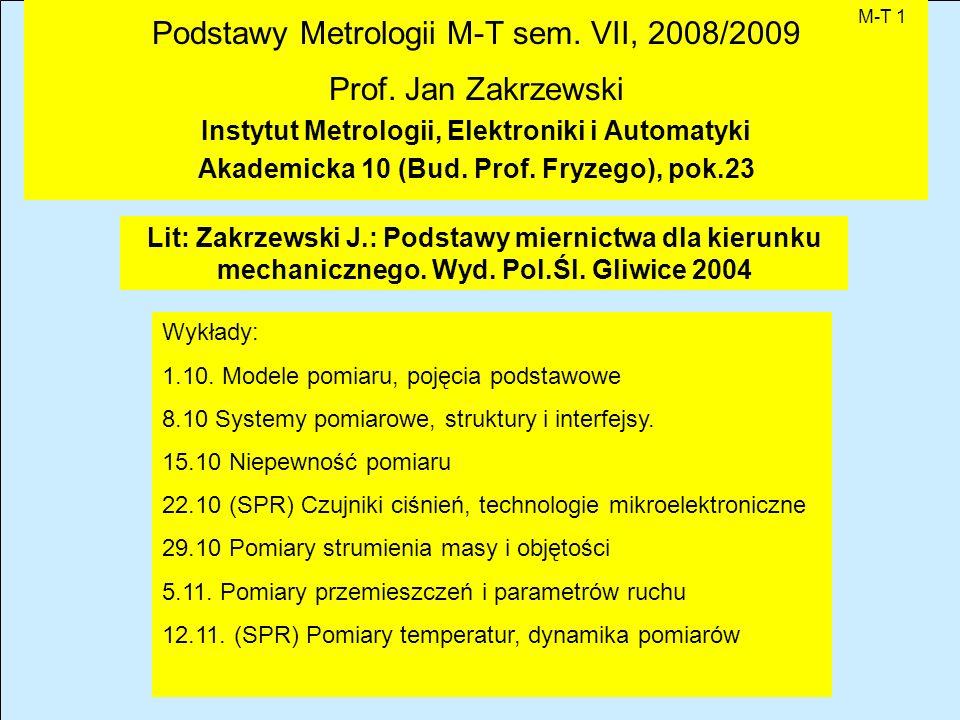 Podstawy Metrologii M-T sem. VII, 2008/2009