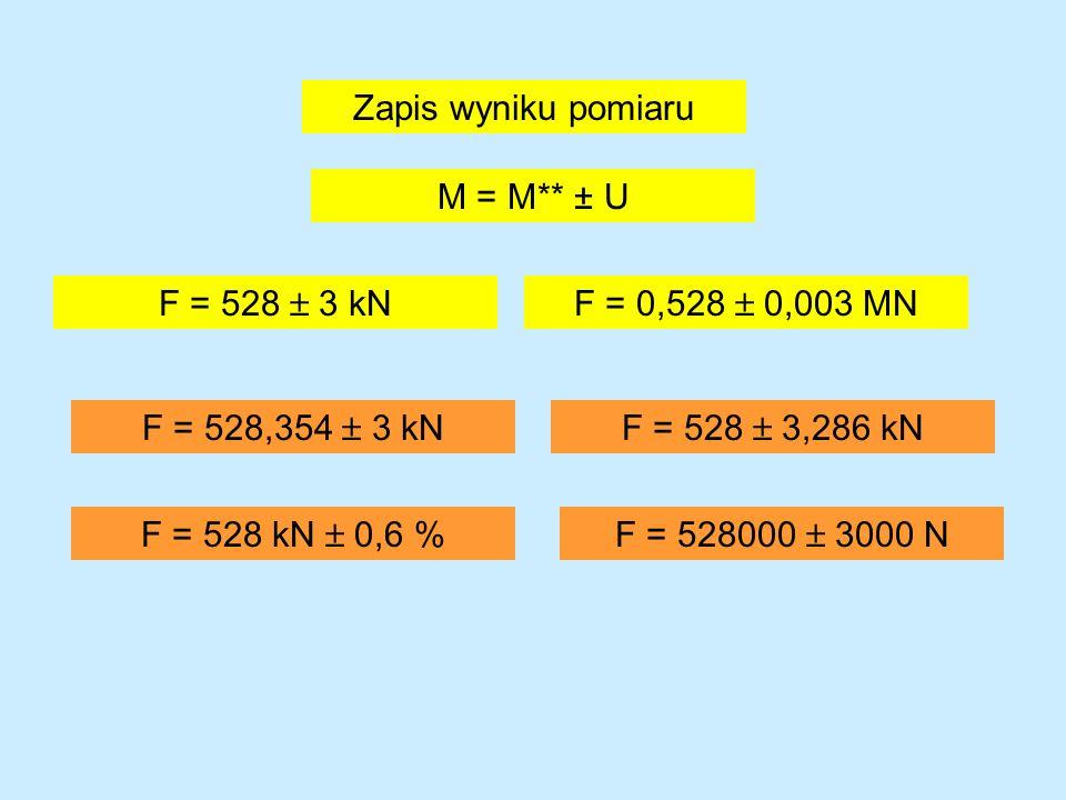 Zapis wyniku pomiaru M = M** ± U. F = 528  3 kN. F = 0,528  0,003 MN. F = 528,354  3 kN. F = 528  3,286 kN.