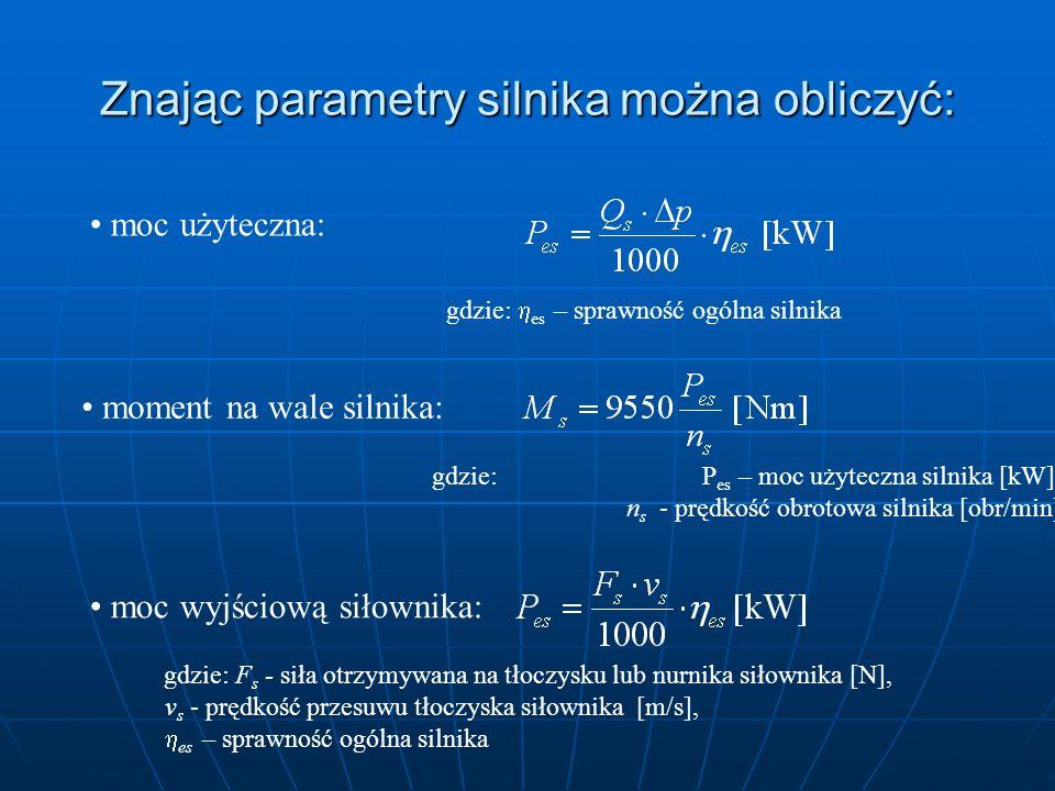 Znając parametry silnika można obliczyć: