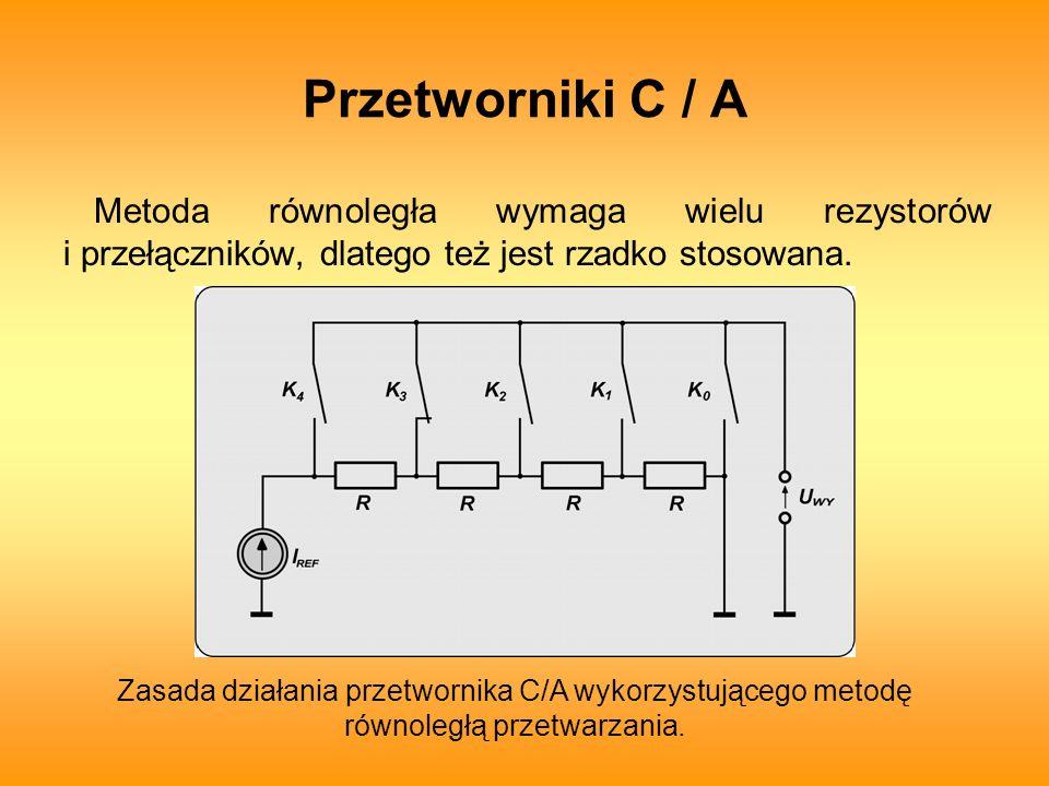 Przetworniki C / A Metoda równoległa wymaga wielu rezystorów i przełączników, dlatego też jest rzadko stosowana.