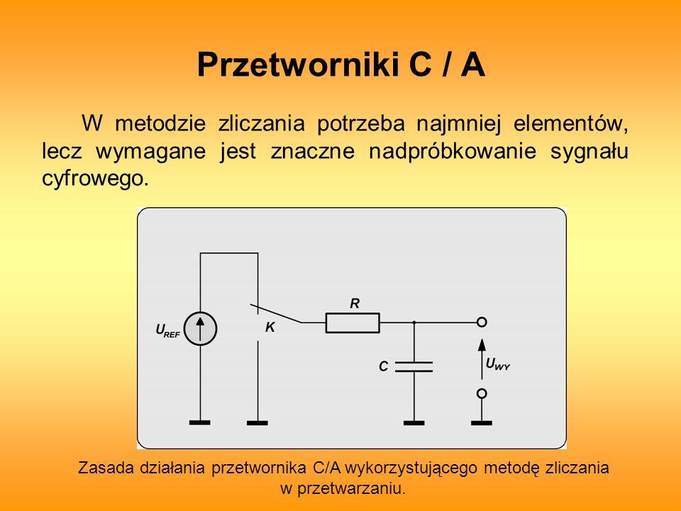 Przetworniki C / A W metodzie zliczania potrzeba najmniej elementów, lecz wymagane jest znaczne nadpróbkowanie sygnału cyfrowego.