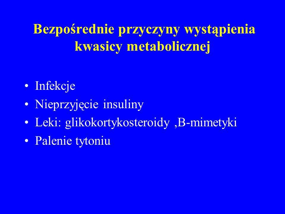 Bezpośrednie przyczyny wystąpienia kwasicy metabolicznej