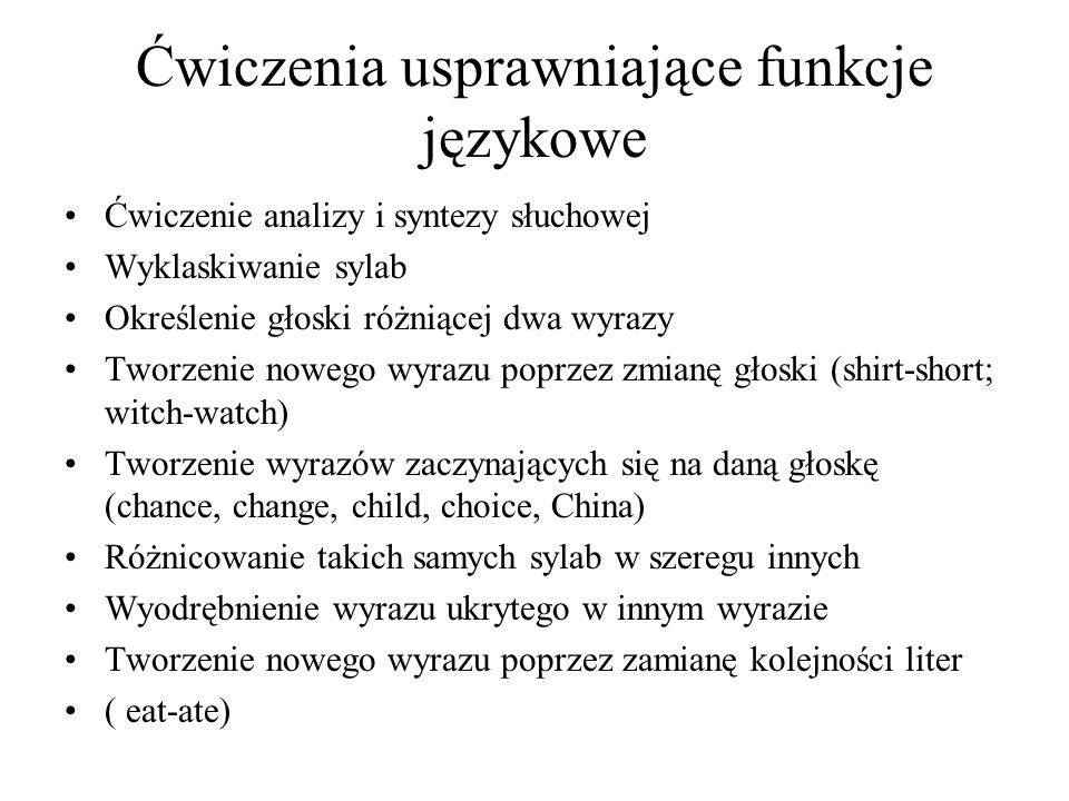 Ćwiczenia usprawniające funkcje językowe
