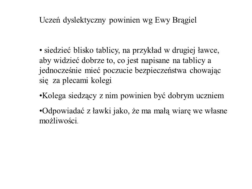Uczeń dyslektyczny powinien wg Ewy Brągiel