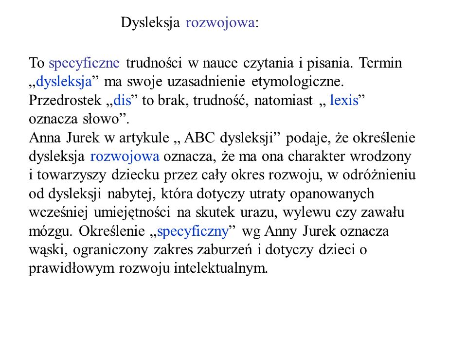 Dysleksja rozwojowa: