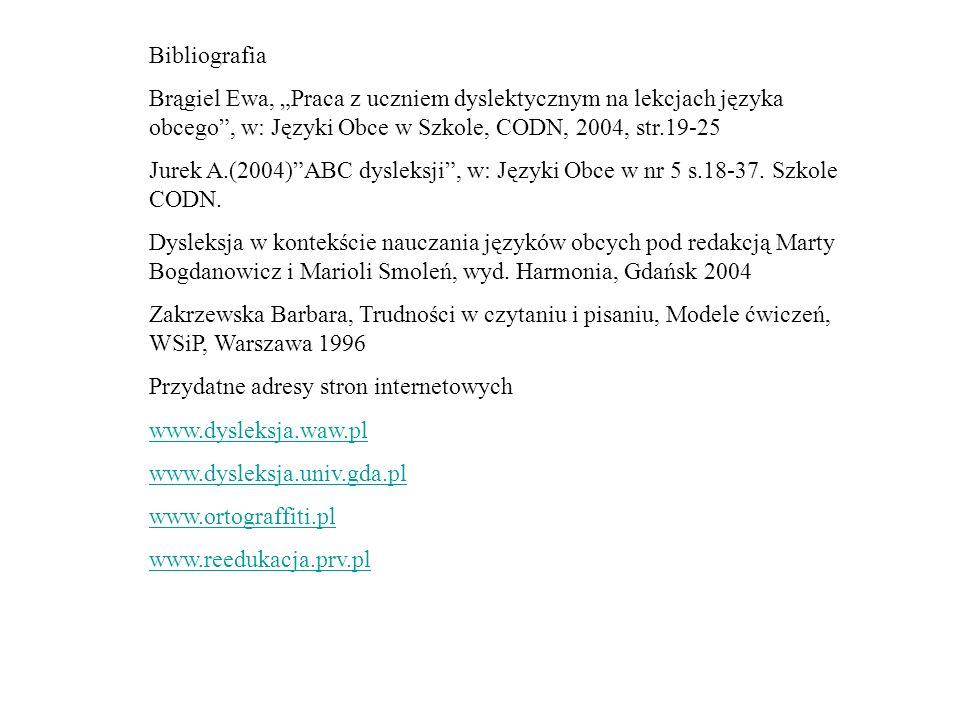 """Bibliografia Brągiel Ewa, """"Praca z uczniem dyslektycznym na lekcjach języka obcego , w: Języki Obce w Szkole, CODN, 2004, str.19-25."""