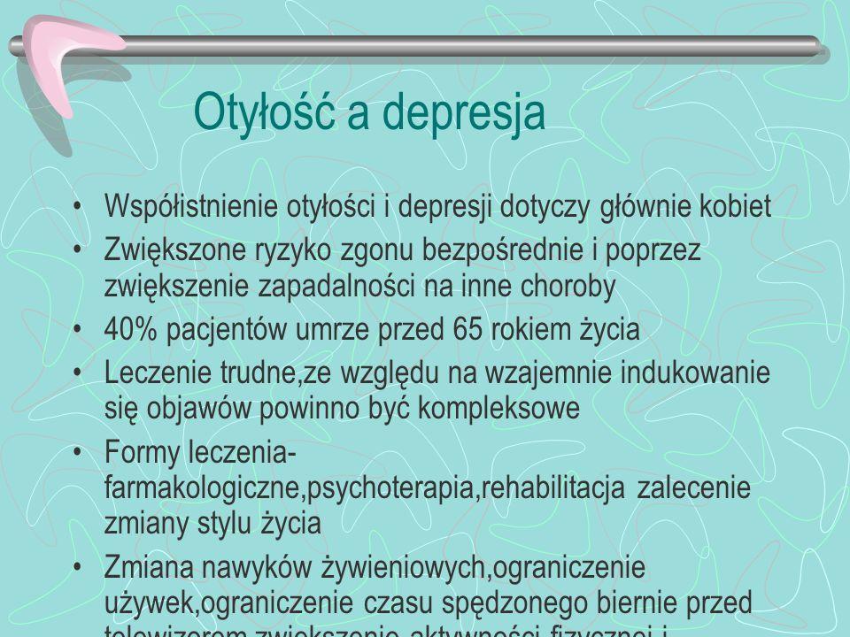 Otyłość a depresja Współistnienie otyłości i depresji dotyczy głównie kobiet.