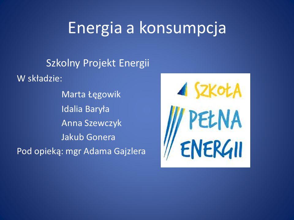 Energia a konsumpcja Szkolny Projekt Energii Marta Łęgowik W składzie: