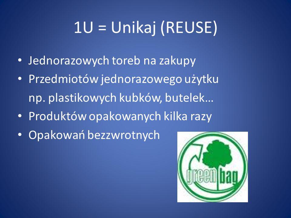 1U = Unikaj (REUSE) Jednorazowych toreb na zakupy