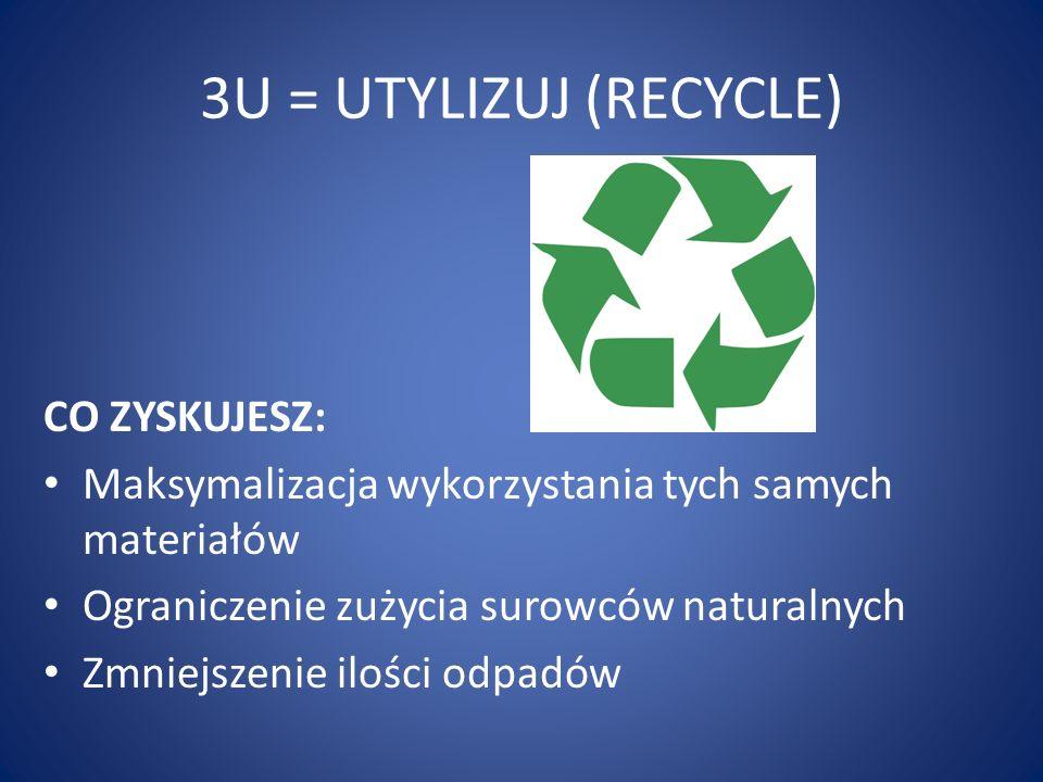 3U = UTYLIZUJ (RECYCLE) CO ZYSKUJESZ: