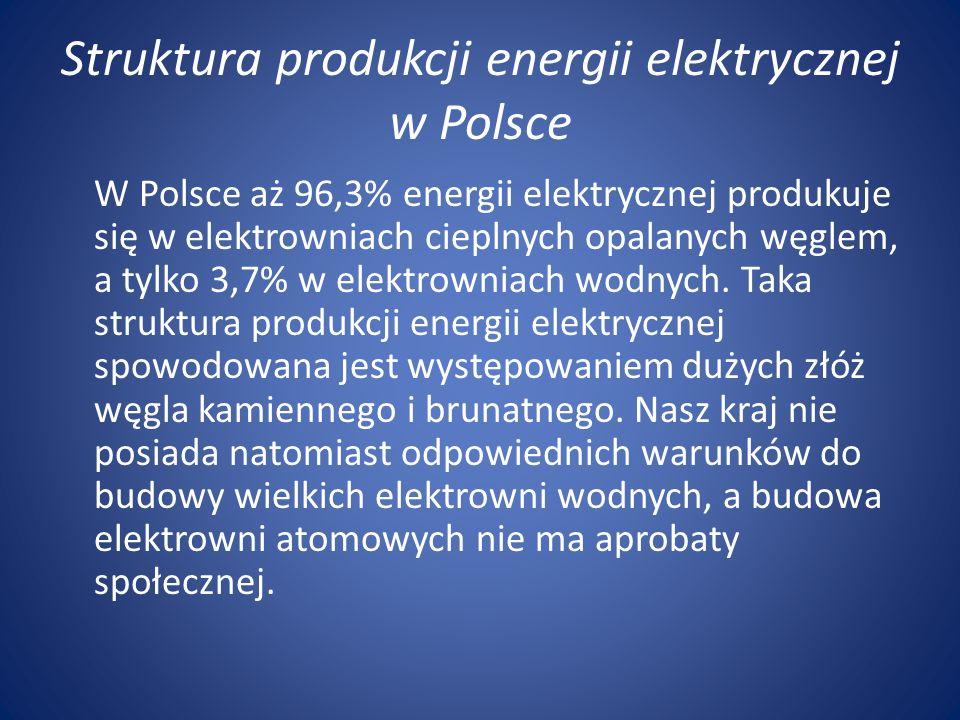 Struktura produkcji energii elektrycznej w Polsce