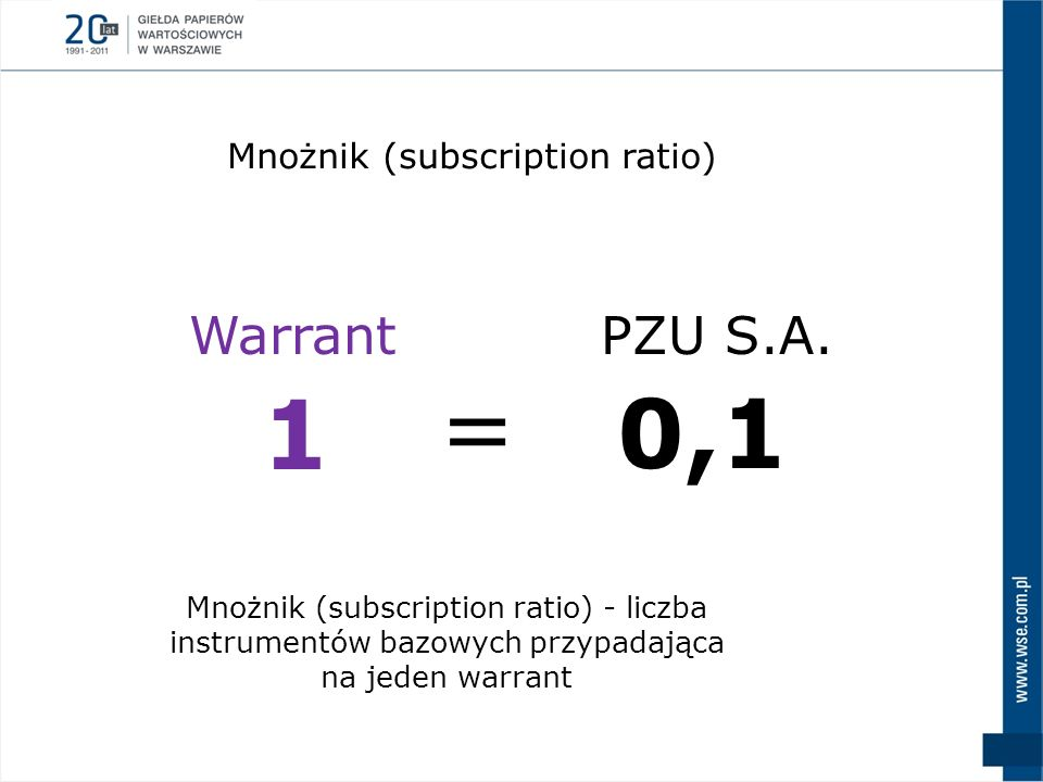 = 1 0,1 Warrant PZU S.A. Mnożnik (subscription ratio)