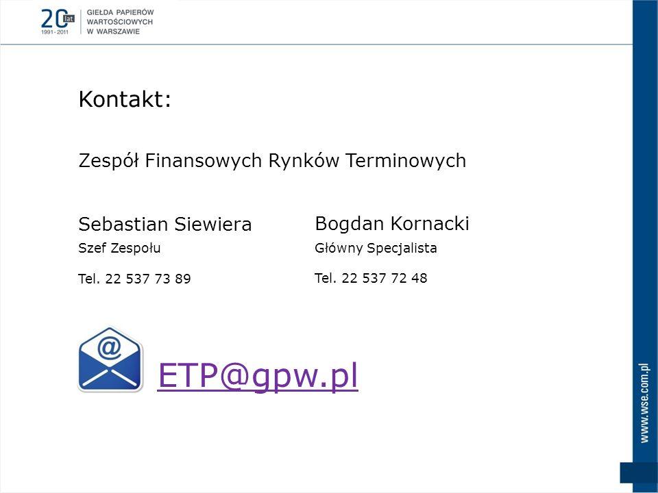 ETP@gpw.pl Kontakt: Zespół Finansowych Rynków Terminowych
