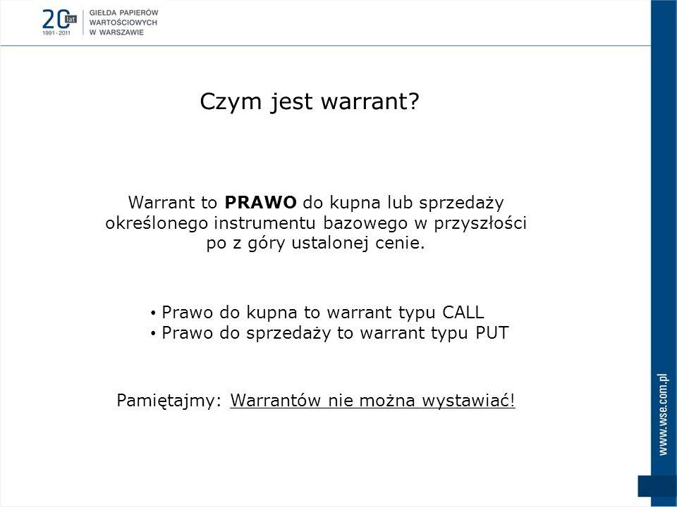Czym jest warrant Warrant to PRAWO do kupna lub sprzedaży określonego instrumentu bazowego w przyszłości po z góry ustalonej cenie.