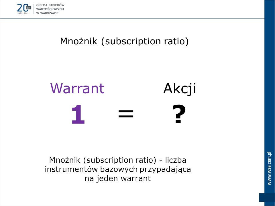 = 1 Warrant Akcji Mnożnik (subscription ratio)