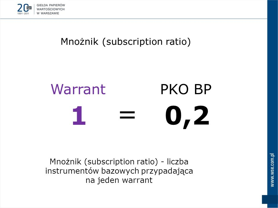 = 1 0,2 Warrant PKO BP Mnożnik (subscription ratio)