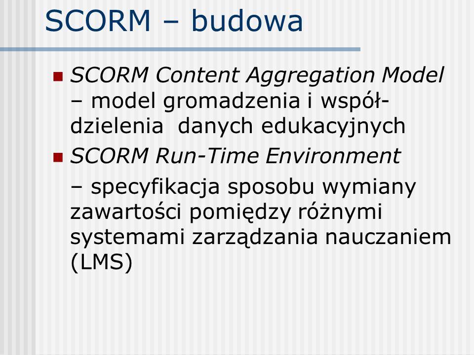 SCORM – budowa SCORM Content Aggregation Model – model gromadzenia i współ-dzielenia danych edukacyjnych.