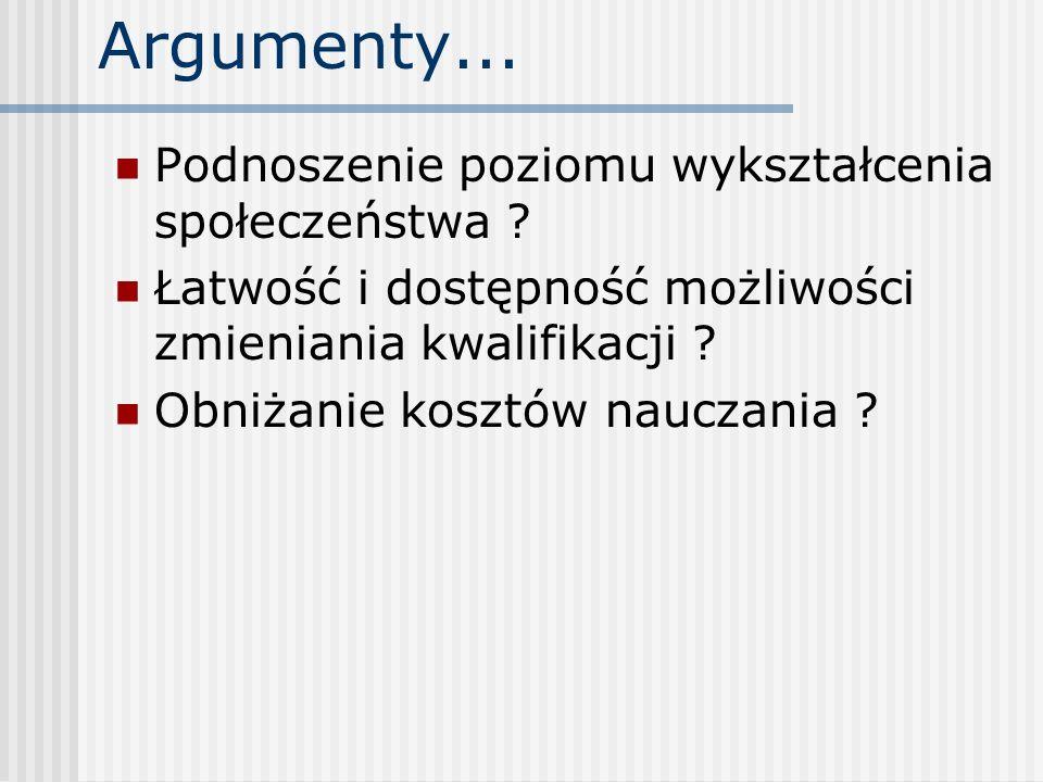 Argumenty... Podnoszenie poziomu wykształcenia społeczeństwa
