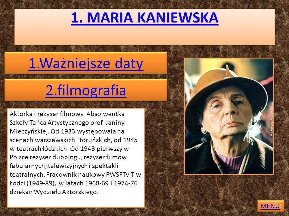 1. MARIA KANIEWSKA 1.Ważniejsze daty 2.filmografia
