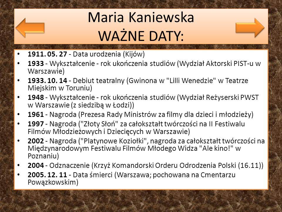 Maria Kaniewska WAŻNE DATY:
