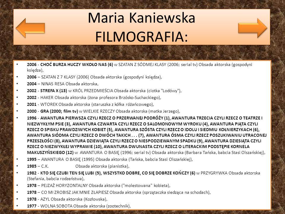 Maria Kaniewska FILMOGRAFIA: