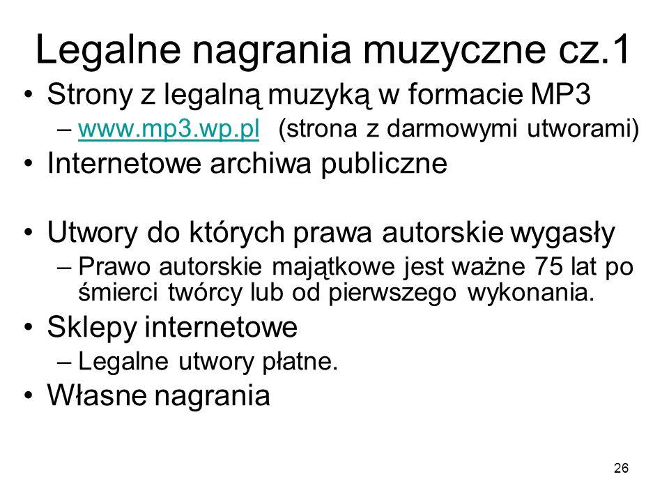 Legalne nagrania muzyczne cz.1