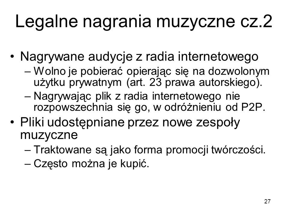 Legalne nagrania muzyczne cz.2