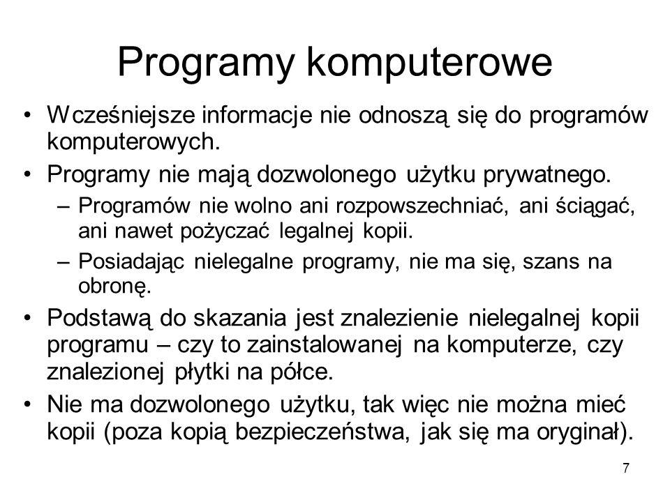Programy komputerowe Wcześniejsze informacje nie odnoszą się do programów komputerowych. Programy nie mają dozwolonego użytku prywatnego.