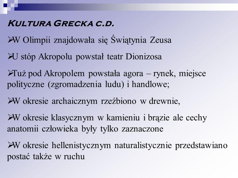 Kultura Grecka c.d. W Olimpii znajdowała się Świątynia Zeusa. U stóp Akropolu powstał teatr Dionizosa.