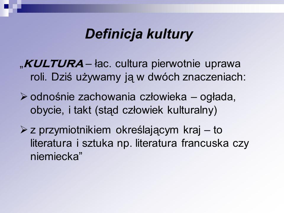 """Definicja kultury """"KULTURA – łac. cultura pierwotnie uprawa roli. Dziś używamy ją w dwóch znaczeniach:"""