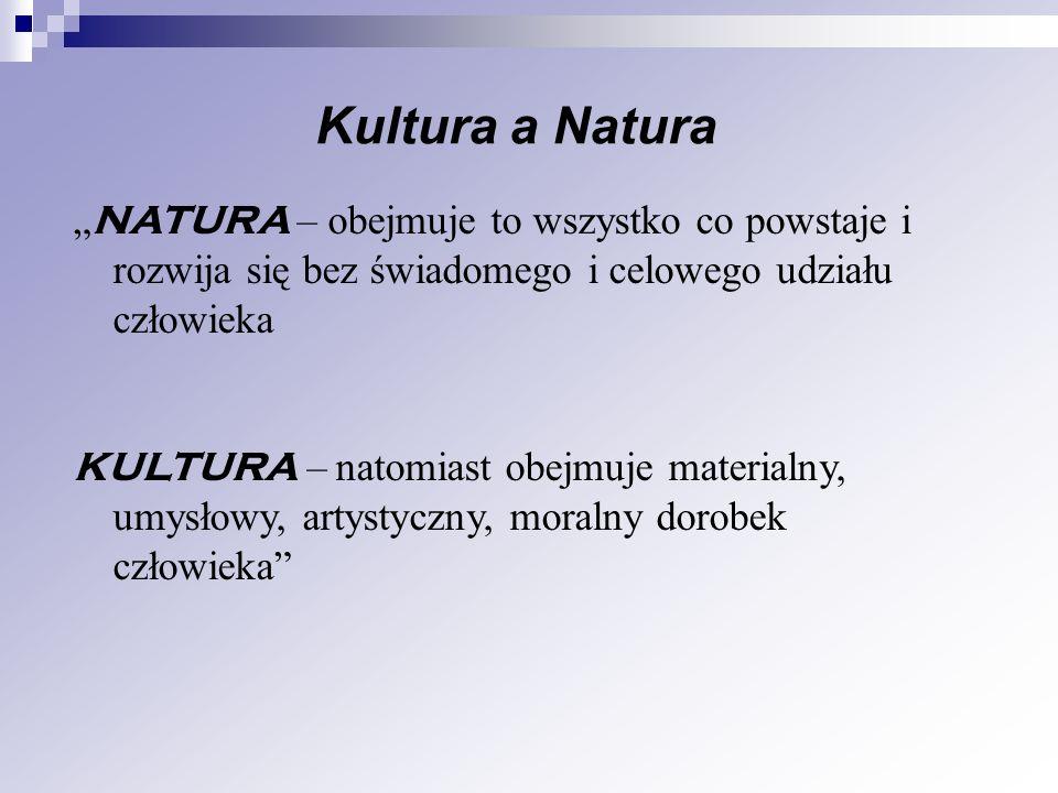 """Kultura a Natura """"NATURA – obejmuje to wszystko co powstaje i rozwija się bez świadomego i celowego udziału człowieka."""
