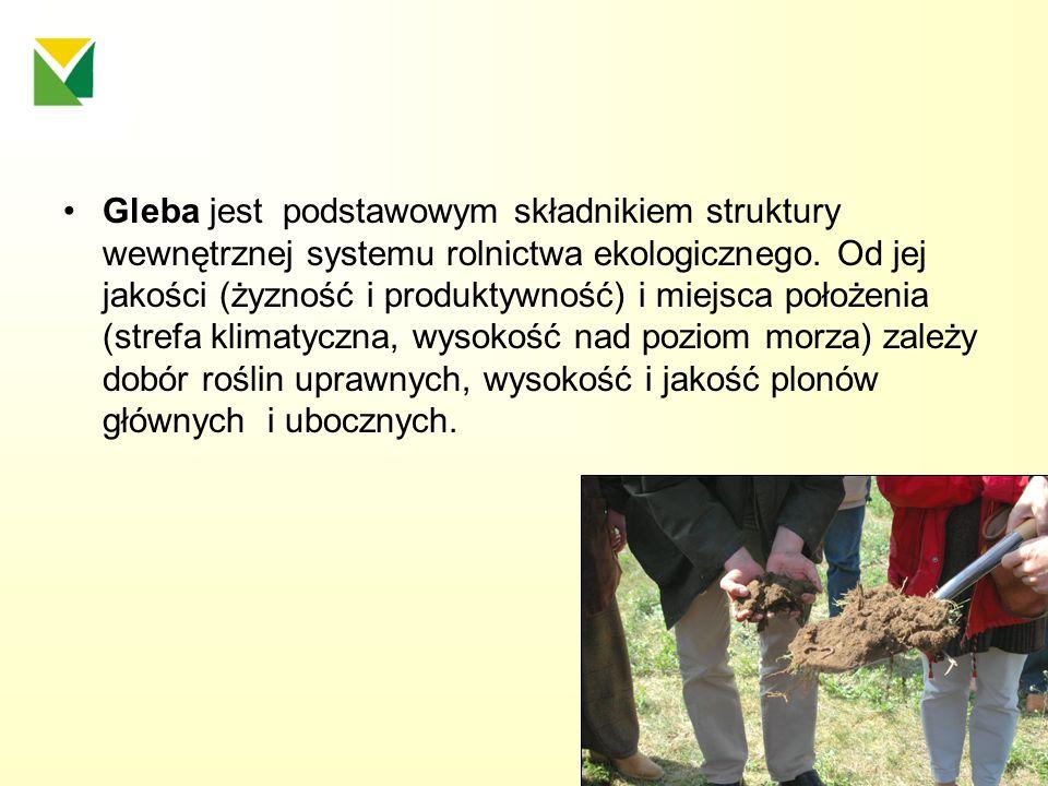 Gleba jest podstawowym składnikiem struktury wewnętrznej systemu rolnictwa ekologicznego.