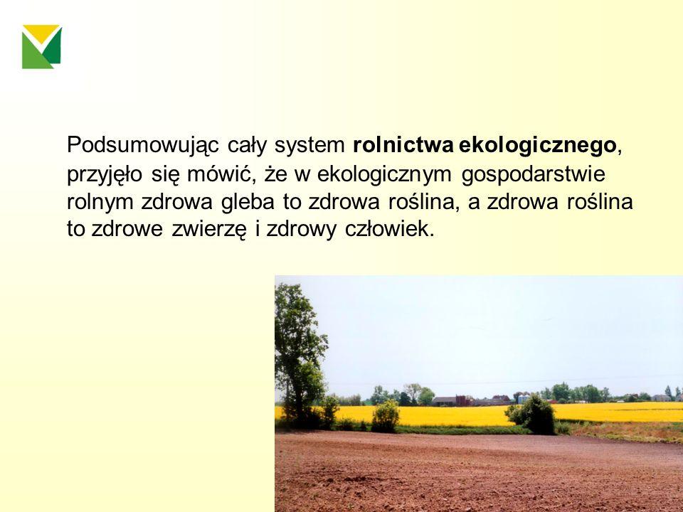 Podsumowując cały system rolnictwa ekologicznego, przyjęło się mówić, że w ekologicznym gospodarstwie rolnym zdrowa gleba to zdrowa roślina, a zdrowa roślina to zdrowe zwierzę i zdrowy człowiek.