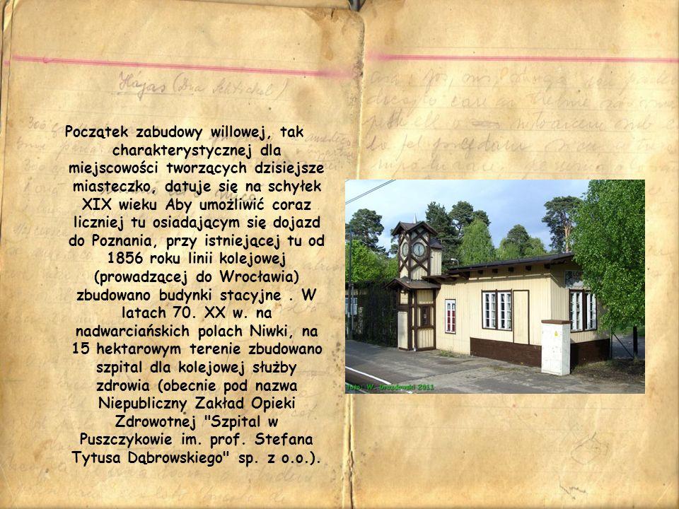 Początek zabudowy willowej, tak charakterystycznej dla miejscowości tworzących dzisiejsze miasteczko, datuje się na schyłek XIX wieku Aby umożliwić coraz liczniej tu osiadającym się dojazd do Poznania, przy istniejącej tu od 1856 roku linii kolejowej (prowadzącej do Wrocławia) zbudowano budynki stacyjne .