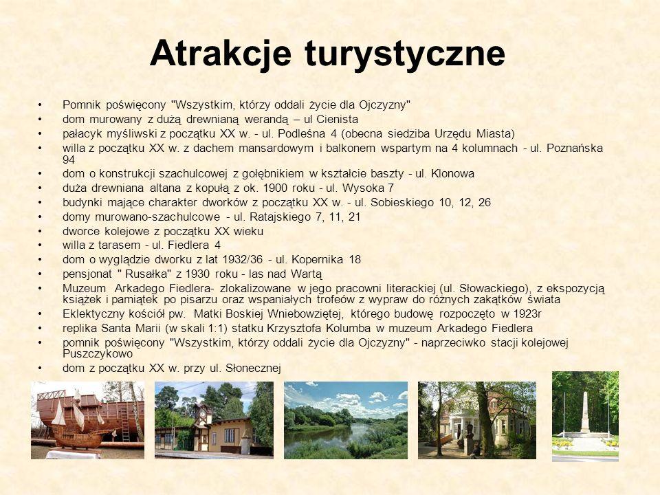 Atrakcje turystyczne Pomnik poświęcony Wszystkim, którzy oddali życie dla Ojczyzny dom murowany z dużą drewnianą werandą – ul Cienista.