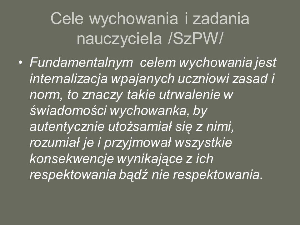 Cele wychowania i zadania nauczyciela /SzPW/