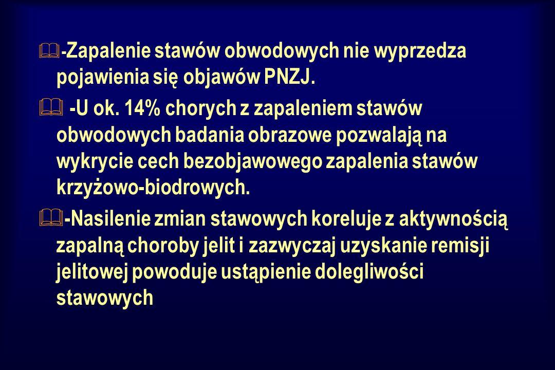 -Zapalenie stawów obwodowych nie wyprzedza pojawienia się objawów PNZJ.