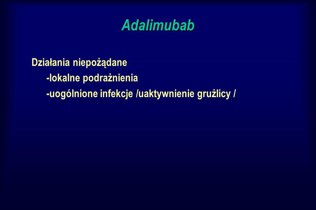 Adalimubab Działania niepożądane -lokalne podrażnienia