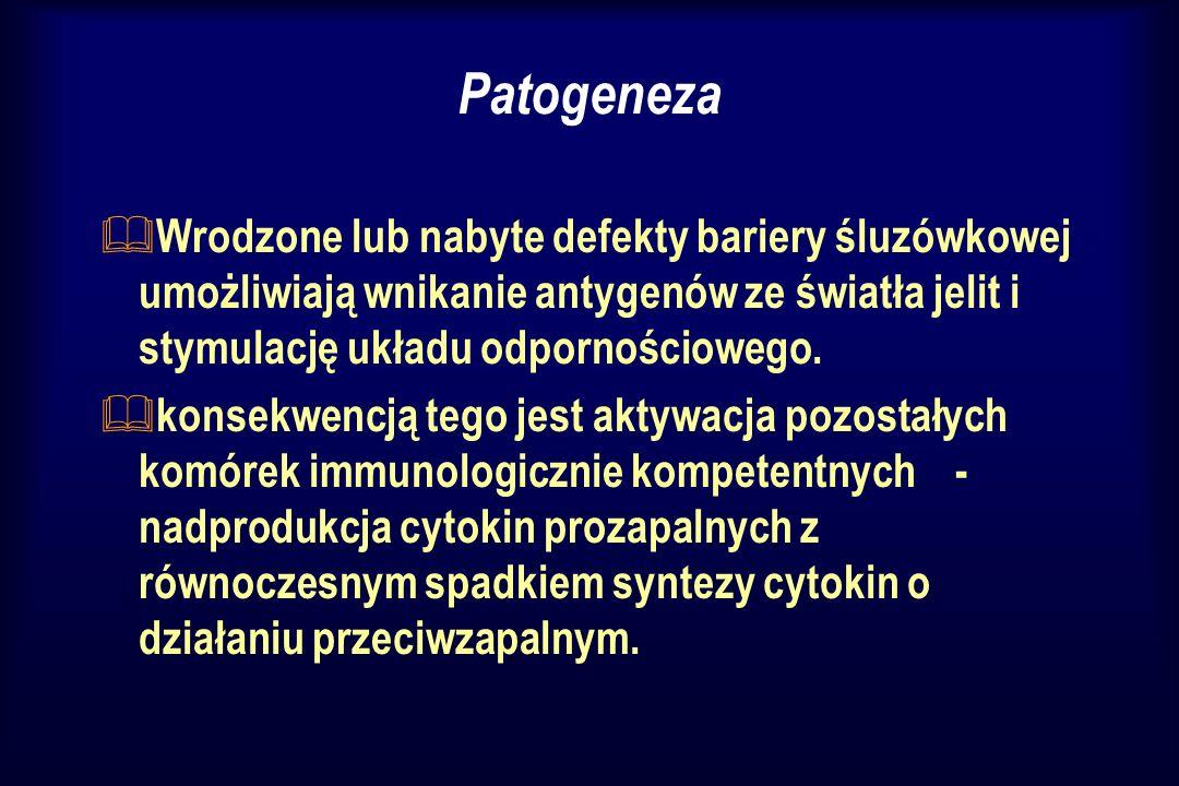 Patogeneza Wrodzone lub nabyte defekty bariery śluzówkowej umożliwiają wnikanie antygenów ze światła jelit i stymulację układu odpornościowego.