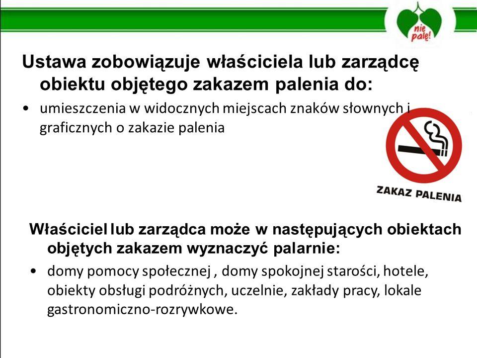 Ustawa zobowiązuje właściciela lub zarządcę obiektu objętego zakazem palenia do: