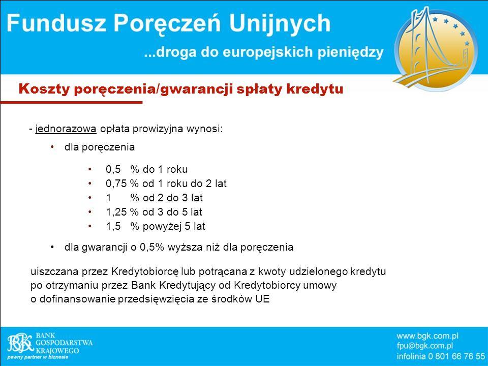 Koszty poręczenia/gwarancji spłaty kredytu