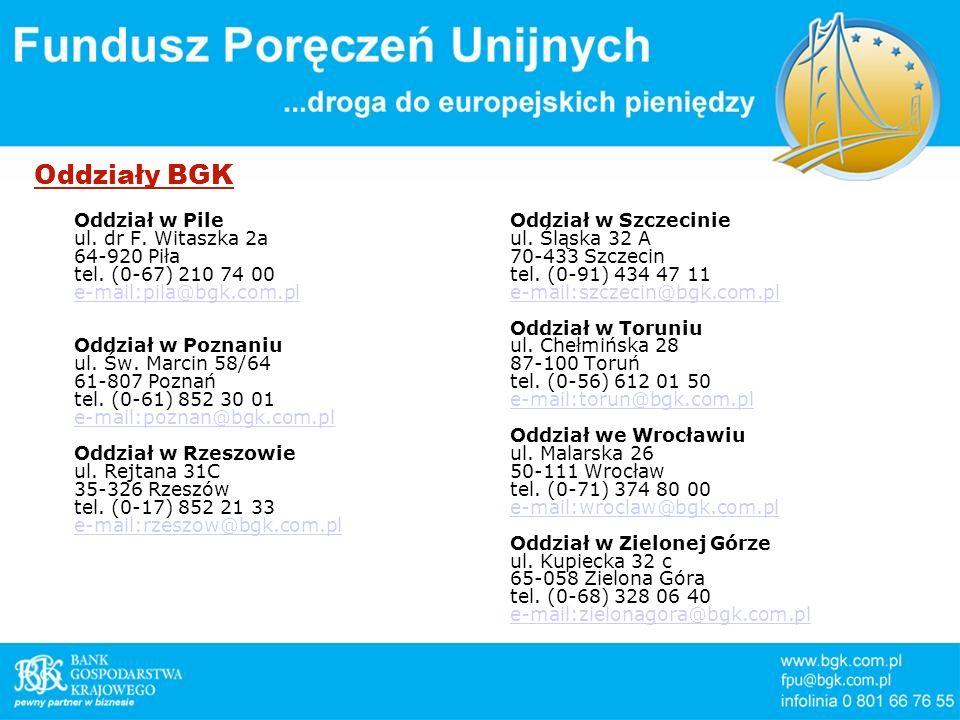 Oddziały BGK Oddział w Pile ul. dr F. Witaszka 2a