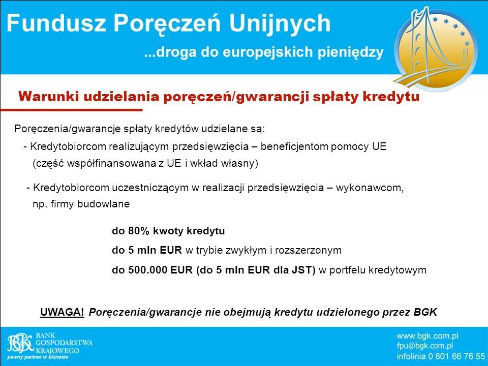 Warunki udzielania poręczeń/gwarancji spłaty kredytu