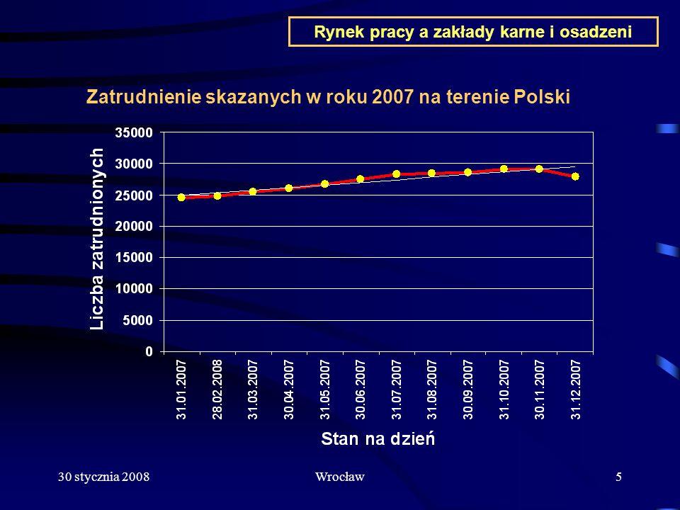 Zatrudnienie skazanych w roku 2007 na terenie Polski