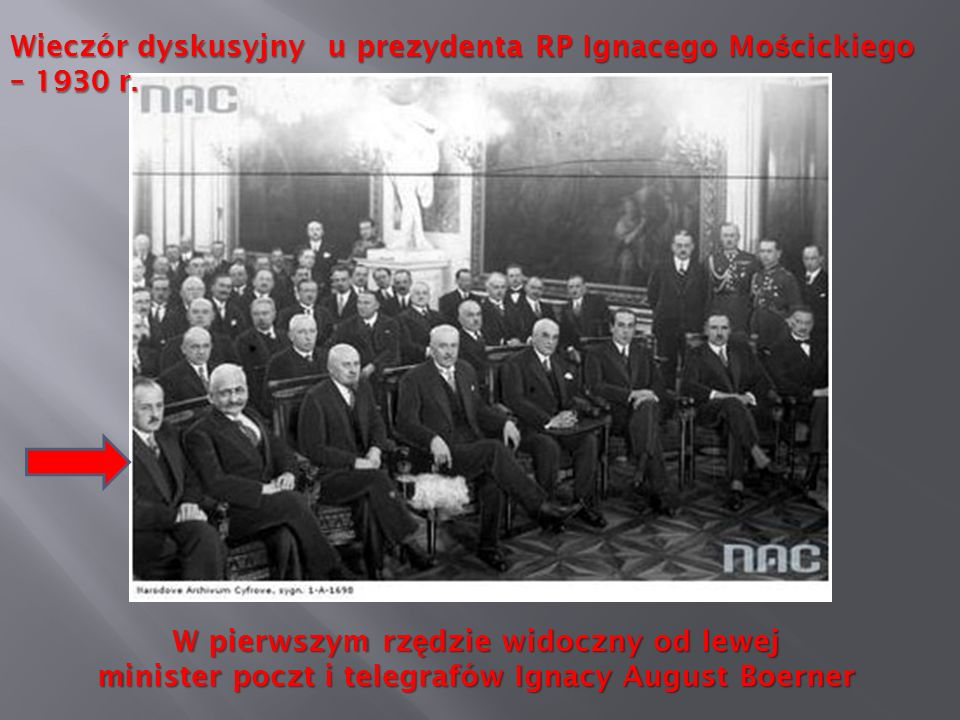 Wieczór dyskusyjny u prezydenta RP Ignacego Mościckiego – 1930 r.