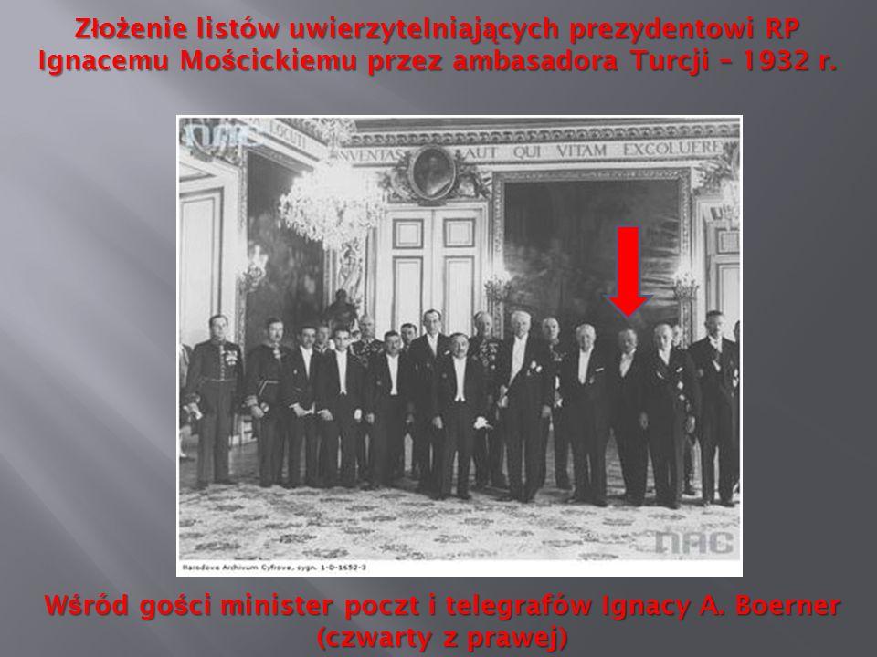 Złożenie listów uwierzytelniających prezydentowi RP Ignacemu Mościckiemu przez ambasadora Turcji – 1932 r.